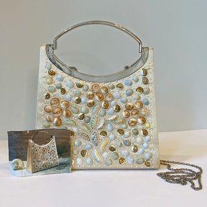 Rare Timmy Woods Seashell and Silk Purse w/ Chain
